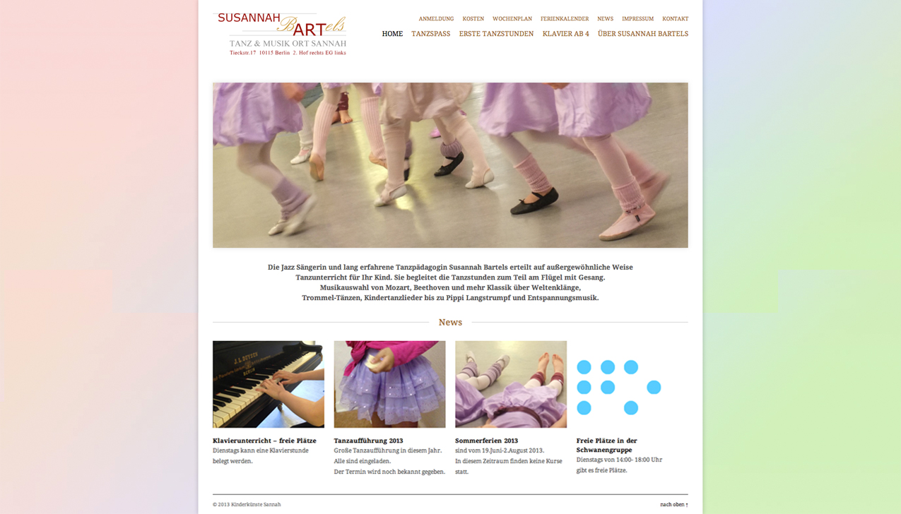 Internetseite für www.kinderkuenste-sannah.de