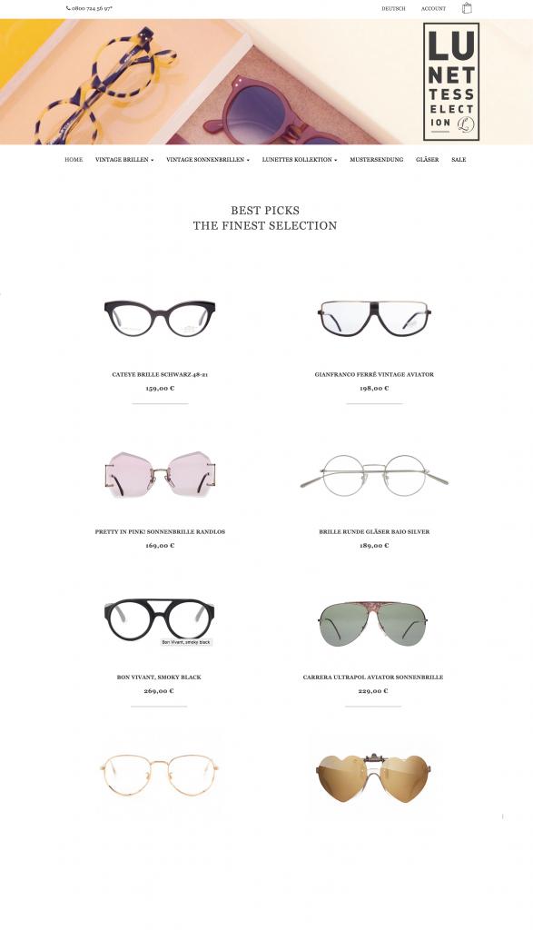 Komplettüberarbeitung von aLunettes Brillen Onlineshop